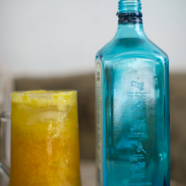 Vitamins  and a bit of gin by Annette Flottwell - Food & Drink Alcohol & Drinks ( glass, guayaba, cas, vidrio, refresco, fruit drink, pinapple, bottle, colourful, gin, mug,  )