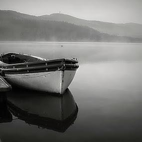 *** by Katka Kozáková - Black & White Landscapes ( reflection, foggy day, lake, boat, morning,  )