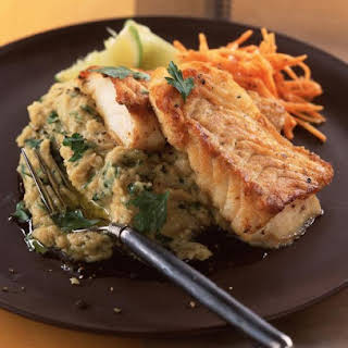 Pan Fried Cod with Cannellini Hummus.