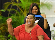 A proud mom celebrates her daughter's graduation at UKZN on Monday.