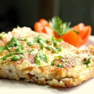 0 calories. Frittata with chicken, mushrooms and tomatoes.