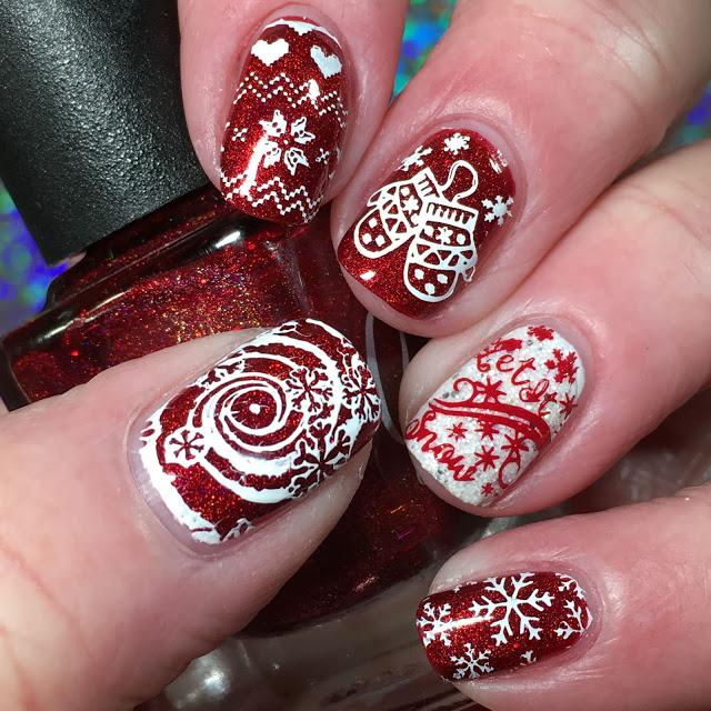 Red & white nails with assorted Christmas nail art, including mittens, snowflakes & Let It Snow text