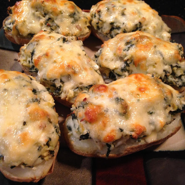 Spinach N Artichoke Stuffed Potato Skins Recipe