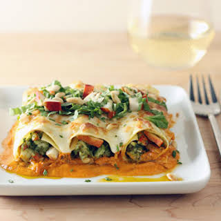 Lobster Cannelloni with Pesto, Rosé Sauce and Toasted Pine Nuts.
