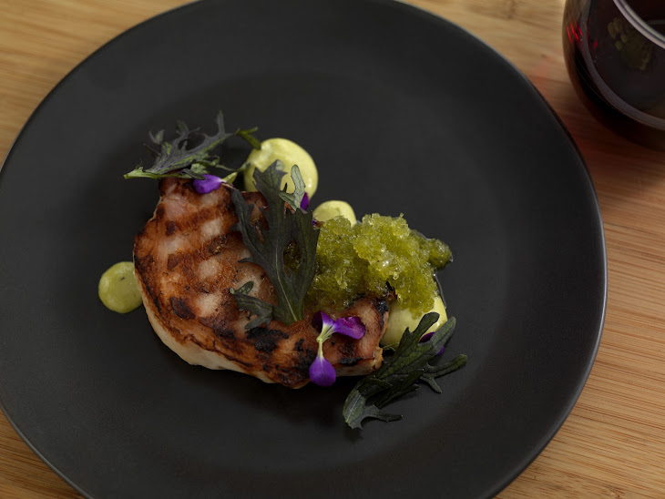 Smoked Pork Loin with Green Garlic, Pickled Mackerel, Pale Ale Jelly and Hop Oil Recipe