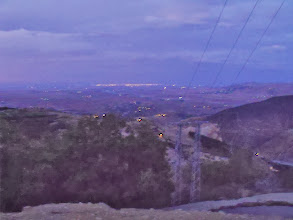 Photo: Looking back towards the cities as the lights came on. I think that is Marrakech on the horizon.