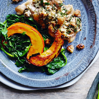 Grilled Chicken Thighs with Pumpkin & Walnuts Recipe