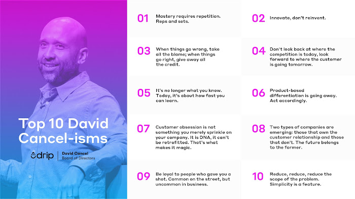 a list of David Cancel's top 10 phrases to live by as a marketer