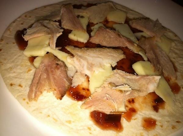 Flour tortilla, Jallapeno Raspberry Jam, Hot Pepper Cheese, Pork Roast