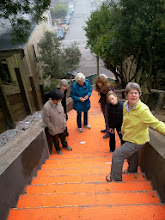 Photo: Hidden Garden Steps (16th Avenue, between Kirkham and Lawton streets in San Francisco's Inner Sunset District) organizing committee members and other volunteers (left to right: Sherry Boschert, Barbara Meli, Judy Goddess, Licia Wells, Cori Holand, and Liz McLoughlin) , on Saturday, November 2, 2013, had their first onsite visit as installation of the 148-step ceramic-tile mosaic designed and created by project artists Aileen Barr and Colette Crutcher continued. For more information about this volunteer-driven community-based project supported by the San Francisco Parks Alliance, the San Francisco Department of Public Works Street Parks Program, and hundreds of individual donors, please visit our website at http://hiddengardensteps.org.