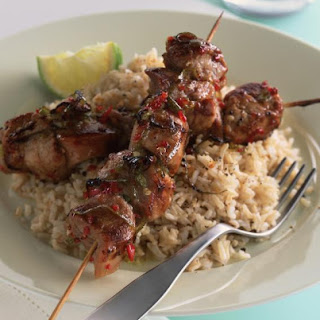 Sticky Lime and Chili Kebabs.