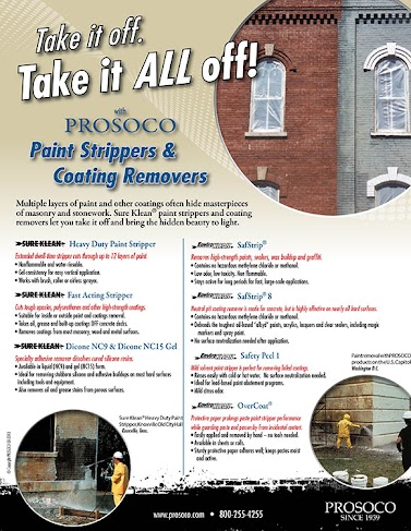 """8.5x11"""" Sell sheet on cleaning paint from masonry using the strippers from the Sure Klean and the EK lineup"""