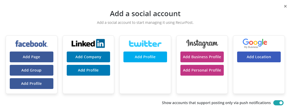 how to schedule posts on Facebook groups - add social account