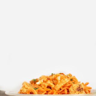 Vegan Buffalo Cauliflower with Sweet Potato Noodles.
