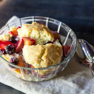 Sugar Cookie Peach Blueberry Cobbler.