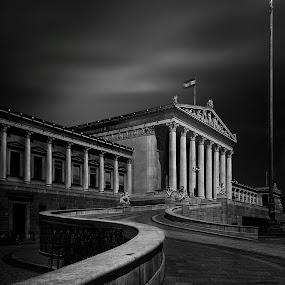 by Ingrid Krammer - Buildings & Architecture Public & Historical ( blackandwhite, parliament, vienna, black and white, bw, ingridworks, austria, structures,  )