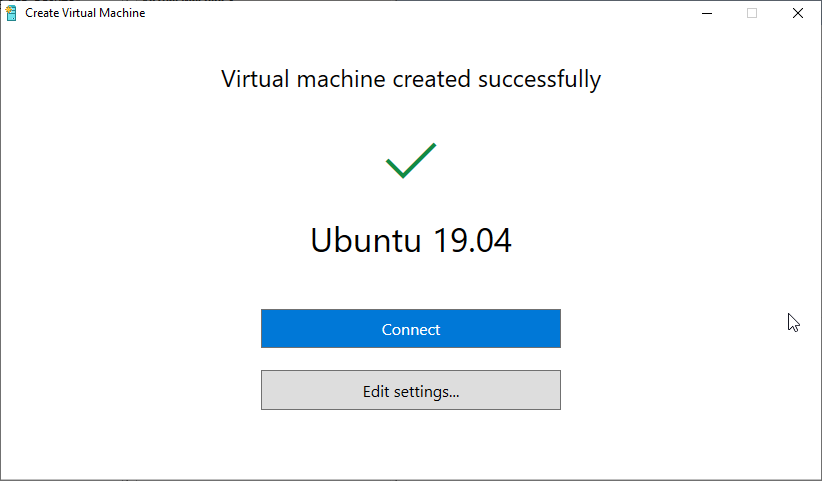 Hyper-V Máquina Virtual Criada com sucesso