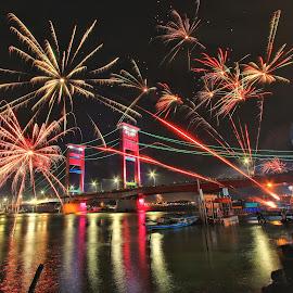 fire work in ampera by Sandi Nopri yanto - Public Holidays New Year's Eve