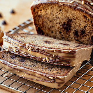 Chocolate Chip Banana Bread with Peanut Butter Icing.