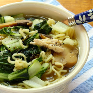 Chinese Chicken And Greens Ramen Noodle Soup.