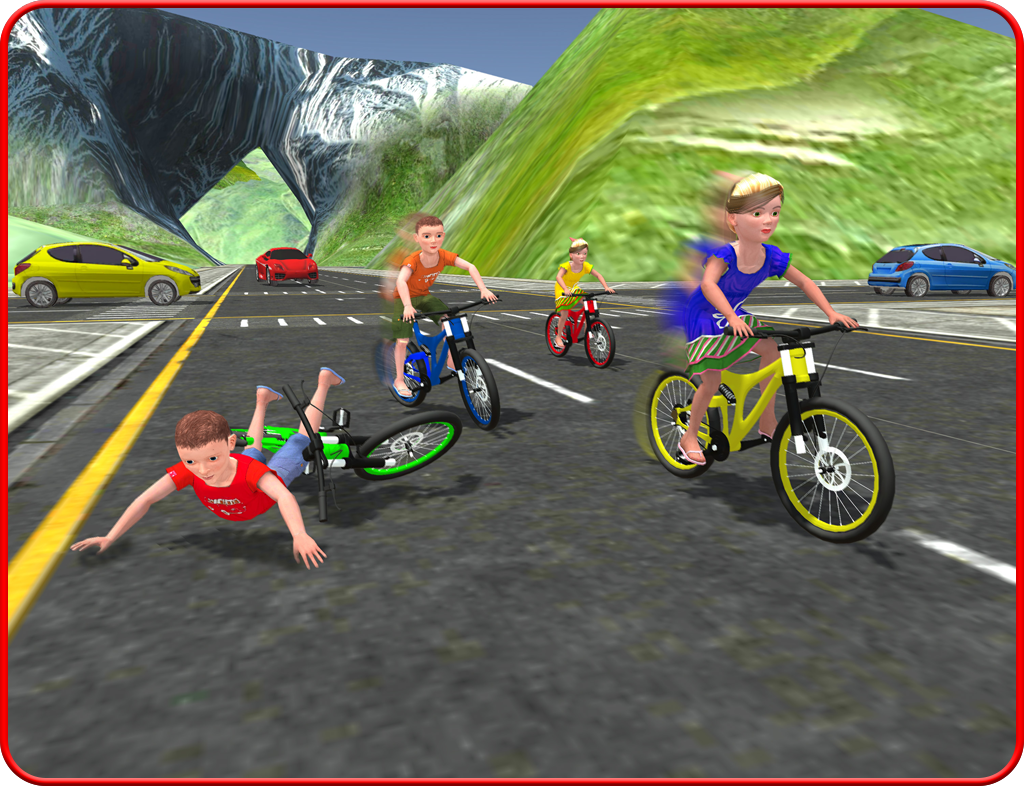 Kids Bicycle Rider Street Race- screenshot