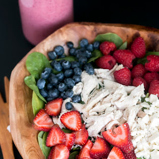 Triple Berry Chicken Salad with Spinach & Feta Cheese.