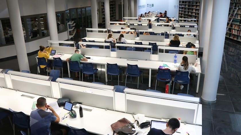 Estudiantes en la sala de estudio de la Biblioteca Central de El Ejido.