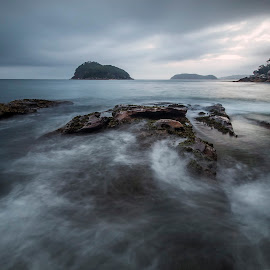 Motion by Geoffrey Wols - Landscapes Waterscapes ( sunrise, rocks, motion, central coast, beach, sunset, lion island, water,  )