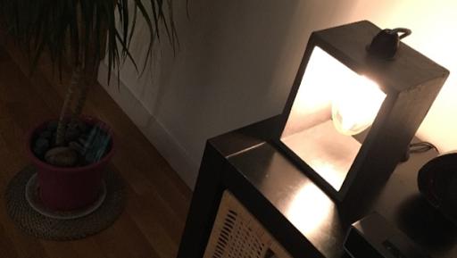 """Lampe """"Boîte"""" en béton ciré anthracite"""