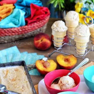 Roasted Brown Sugar Peaches and Cream Frozen Custard.