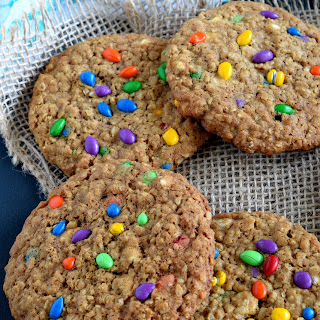 White Chocolate Oatmeal Cookies with Candy Coated Sunflower Seeds.