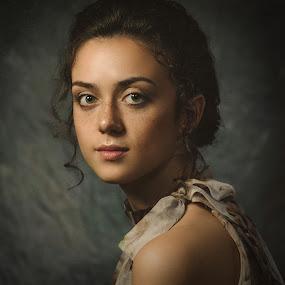 Valery by Dmitry Baev - People Portraits of Women ( studio, girl, woman, beautiful, green eyes, freckles, portrait, eyes )