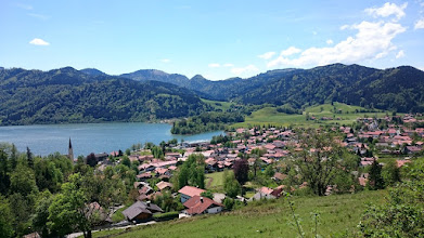 Photo: schliersee village ... and at the other side of the lake (below the hills) is the nice small camping site