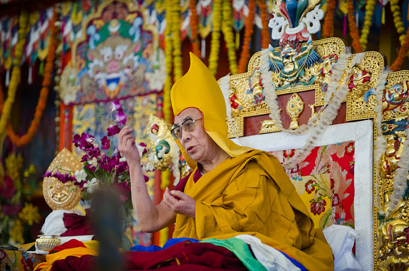 Photo: His Holiness the Dalai Lama during the long life offering ceremony at the conclusion of the Kalachakra for World Peace in Bodh Gaya, India, on January 10, 2012. Photo/Tenzin Choejor/OHHDL