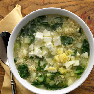 Quinoa Chowder with Spinach, Feta, and Scallions