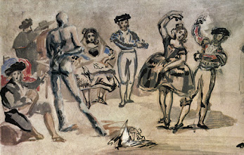 Photo: Richard the Nudist art bombs Manet. I think that one Spanish lady is quite interested in Richard's dance moves. Heheheh- Richard is a dancer/choreographer in real life too!