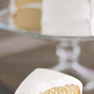 Healthy Gluten Free Vanilla Cake with Vanilla Bean Cream Cheese Frosting.