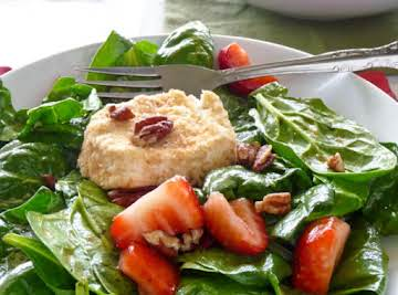Strawberry Spinach Salad with Baked goat cheese