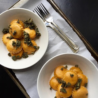 Vegan Portobello Pumpkin Ravioli with Sage & Walnut Pesto