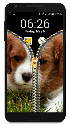 ジッパーロック画面 - 子犬