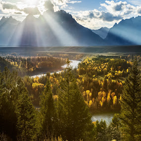 Scenic View by Qing Zhu - Landscapes Mountains & Hills ( mountain, nature, mountain range, foliage, horizontal, fall, tyndall, forest, scenic view, beauty, backlighting, grand teton, river, #GARYFONGDRAMATICLIGHT, #WTFBOBDAVIS,  )