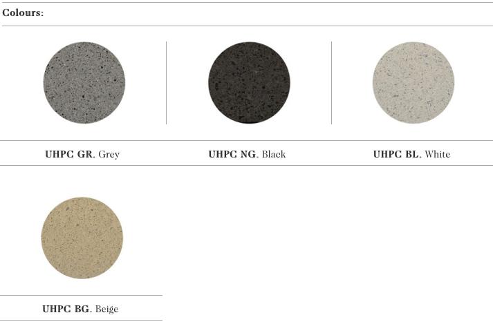 De kleur mogelijkheden voor het UHPC beton van de Raval fietsenstaander uit de collectie van Escofet 1886