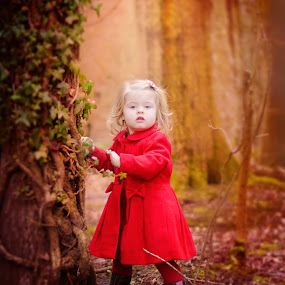 If you go into the woods today by Love Time - Babies & Children Child Portraits ( child, red, girl, nature, tree, cute, toddler, woods,  )