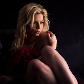 Relaxing  by Paul Phull - People Portraits of Women ( blonde, low key, photography., fiona, portrait, eyes )
