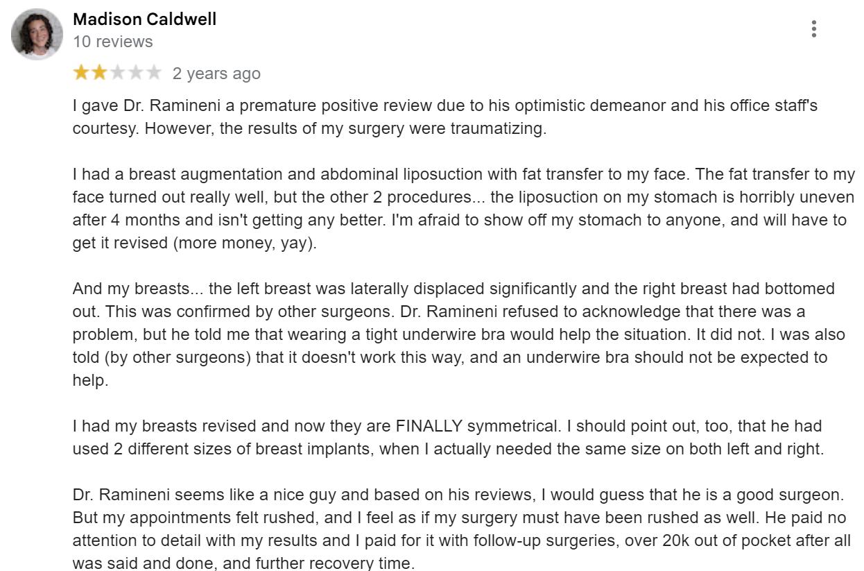 Dr. Praful Ramineni at District Plastic Surgery review