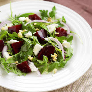 Beet Salad with Feta, Mint and Hazelnuts.