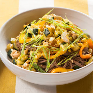 Sweet Pepper, Zucchini & Corn Stir-Fry with Soba Noodles & Ginger Cashews