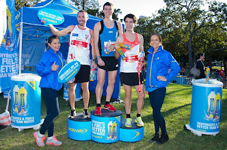 Photo: Swannie, Mick O'Shea (brother of Dave), far left, finishes in 16th place out of 5,460 runners (top 0.29 per cent) in the Brisbane Times City2South 14km Run in June 2013.