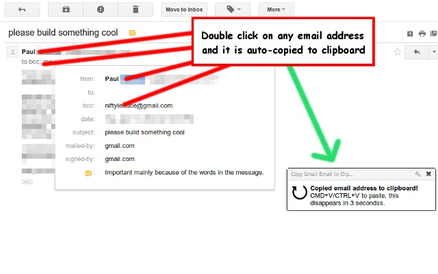 Copy Gmail Email to Clipboard