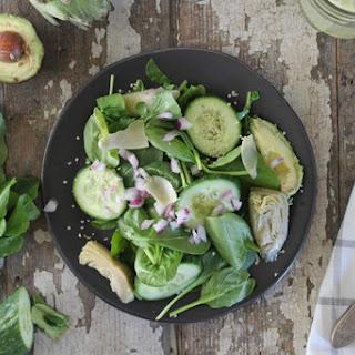 Avocado Artichoke Arugula & Spinach Salad.